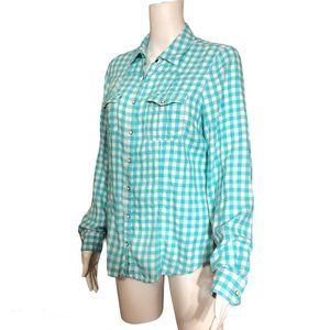 Maurices Teal Blue White Check Western Shirt